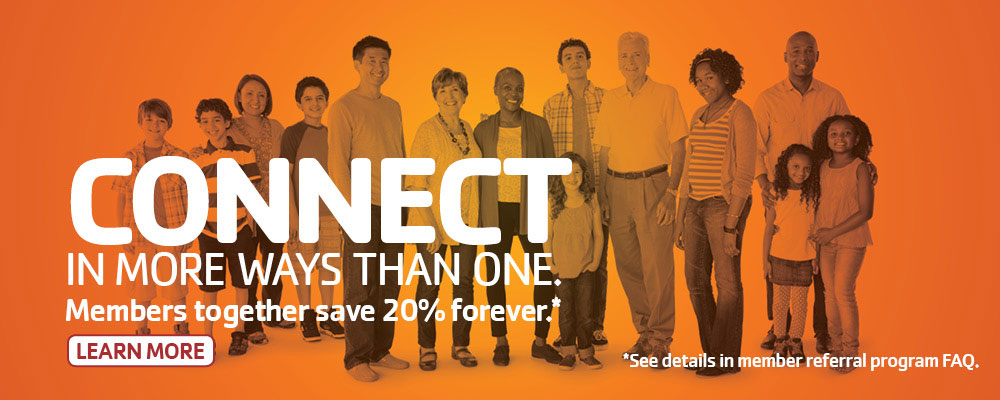 YMCA Members together save 20% forever