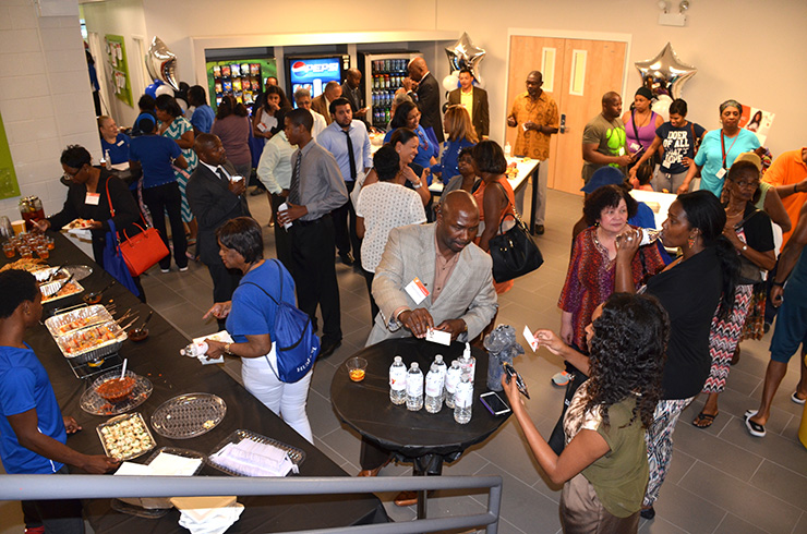 Community members gather in the Wi-Fi Cafe Lounge